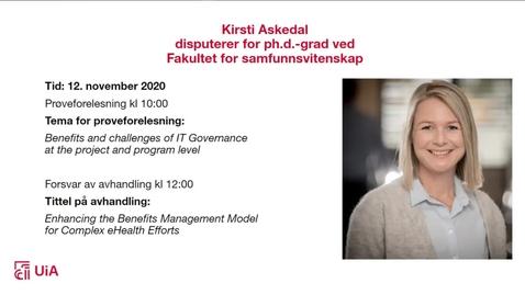 Thumbnail for entry Disputas Kirsti Askedal