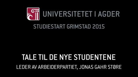 Thumbnail for entry 2. Tale til de nye studentene - Jonas Gahr Støre