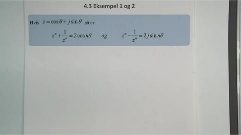 Thumbnail for entry Kapittel 11 4.3.1 De Moivre´s teorem, eksempel 1 og 2