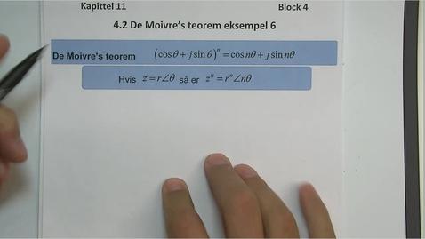 Thumbnail for entry Kapittel 11 4.2.2 De Moivre's teorem, eksempel 6