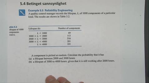 Thumbnail for entry Kapittel 23 5.4-2 Betinget sannsynlighet eksempel