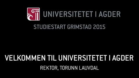 Thumbnail for entry 1. Velkommen til Universitetet i Agder
