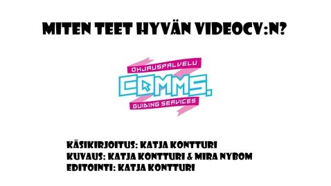 Thumbnail for entry Millainen on hyvä video-cv?