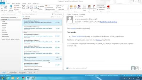 Thumbnail for entry Outlook: Poistettujen viestien palauttaminen