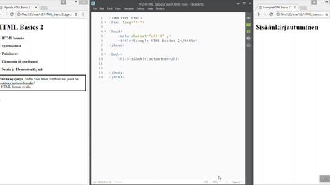 Thumbnail for entry 02 HTML Basics 2 (Login-lomake)