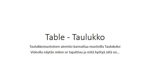 Thumbnail for entry Table - Taulukko