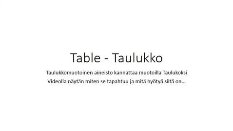 Thumbnail for entry Table - Taulukko