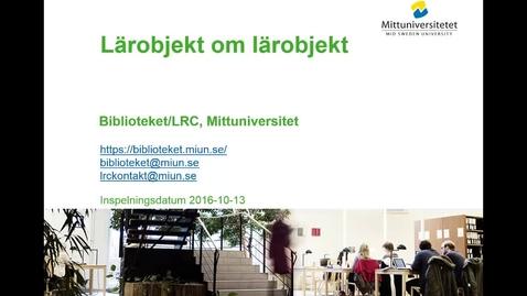 Thumbnail for entry Lärobjekt om lärobjekt