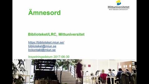 Thumbnail for entry Ämnesord