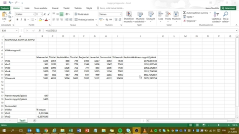 Thumbnail for entry Excel 2016: taulukon ulkoasun muotoilu