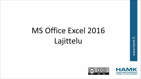 Thumbnail for entry Excel 2016: lajittelu