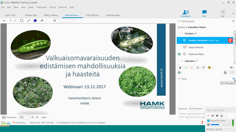 Thumbnail for entry Valkuaisomavaraisuuden edistämisen mahdollisuuksia ja haasteita, Katariina Manni HAMK