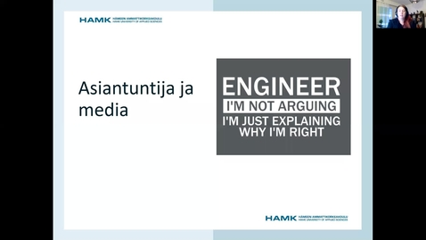 Thumbnail for entry Asiantuntija ja media/ Pauliina 26.1.2021