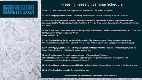Thumbnail for entry Freezing Research Seminar 2021
