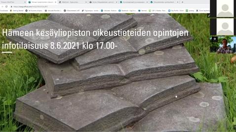Thumbnail for entry Oikeustieteiden (HTK/HTM, ON/OTM) opintojen info 8.6.2021