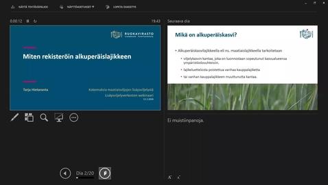 Thumbnail for entry Miten rekisteriöin alkuperäislajikkeen