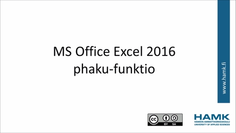 Thumbnail for entry Excel 2016: phaku-funktio
