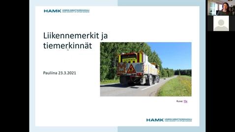 Thumbnail for entry Liikennemerkit ja tiemerkinnät 23.3.2021/ Pauliina