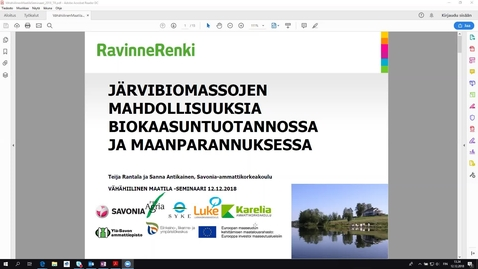 Thumbnail for entry Järvibiomassojen hyödyntäminen lannoituksessa sekä maanparannuksessa