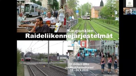 Thumbnail for entry Antero Alku: Kaupunkien raideliikennejärjestelmät 10.9.2020