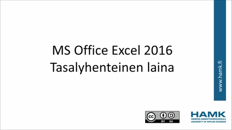 Thumbnail for entry Excel 2016: tasalyhenteinen laina