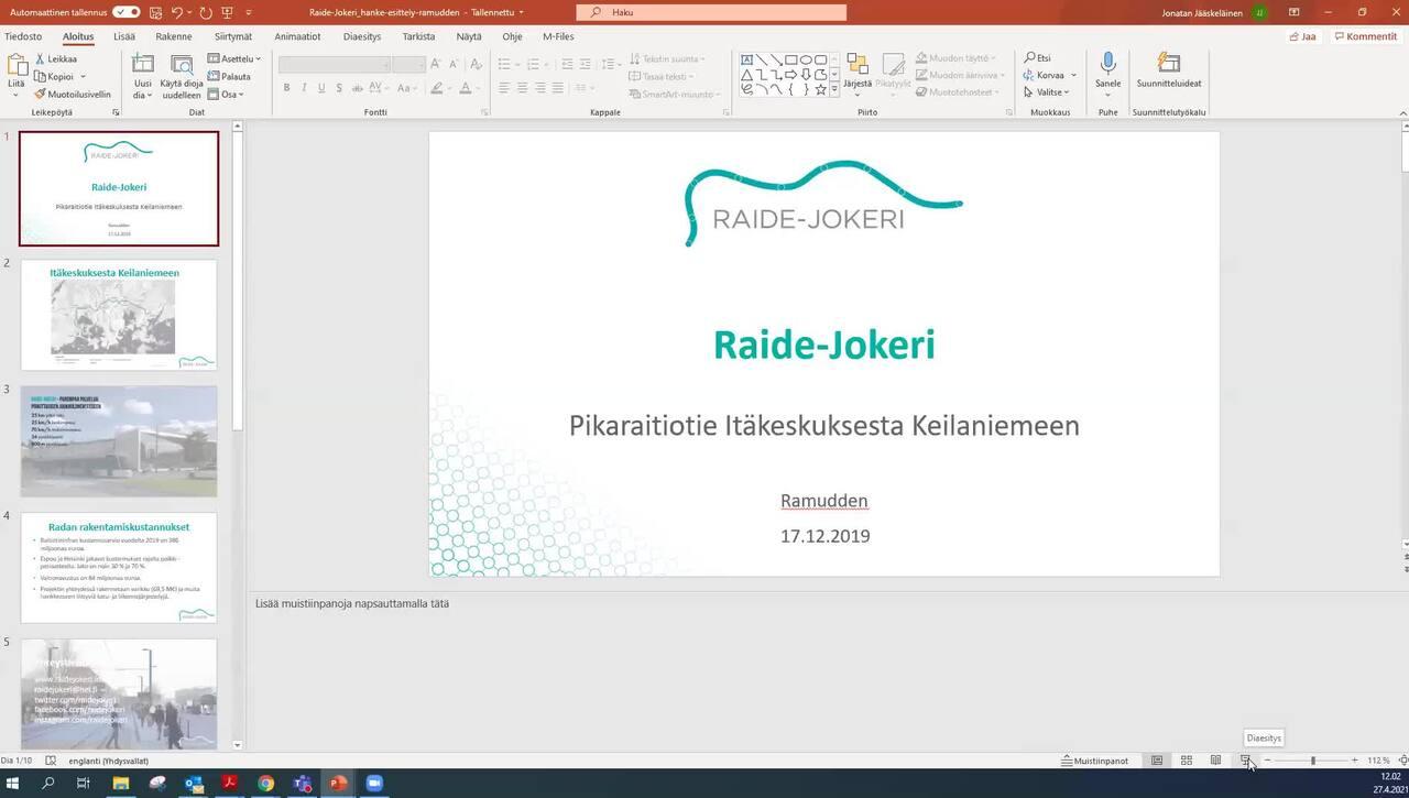 TLJ-päivä 27.4.2021, Raide-Jokerin esittely ja yleissuunnitelman laadinta
