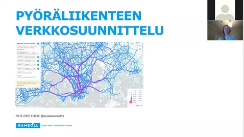 Thumbnail for entry Reetta Keisanen, 30.9.2020/ Pyöräliikenteen verkkosuunnittelu