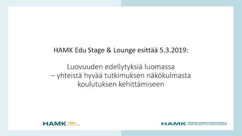 Thumbnail for entry HAMK EDU Stage 5.3.2019