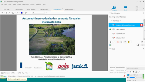Thumbnail for entry Automaattinen vedenlaadun seuranta Tarvaalan mallikosteikolla, Tarja Stenman, JAMK