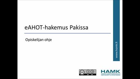 Thumbnail for entry Opiskelijan Pakki-ohjeet: korkeakouluopintojen hyväksiluku (AHOT)