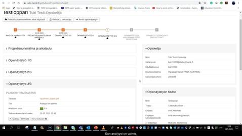 Thumbnail for entry Wihi-ohjeet: ohjaaja hyväksyy plagioinnin tarkastuksen ja arvioi työn 2. tarkastajan kanssa