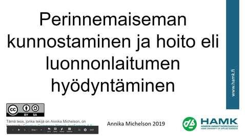 Thumbnail for entry Perinnemaiseman kunnostaminen ja hoito eli luononlaituimen hyödyntäminen  (2019)