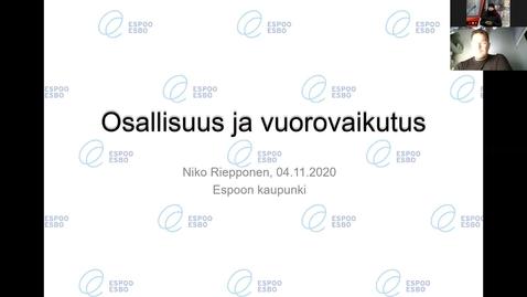 Thumbnail for entry Luento 19.11.2020: Osallisuus ja vuorovaikutus/ Niko Riepponen (Espoo)