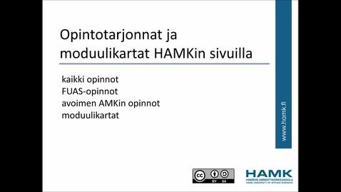 Thumbnail for entry Opintotarjonnat ja moduulikartat HAMKin sivuilla