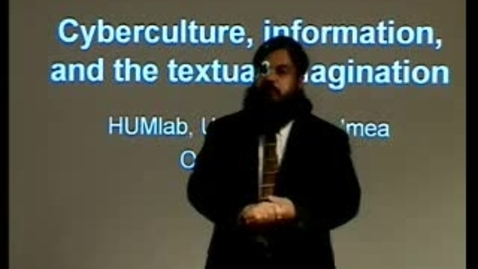 """Thumbnail for entry 031028 Alexander: """"Cyberculture, literature and the textual imagination"""""""