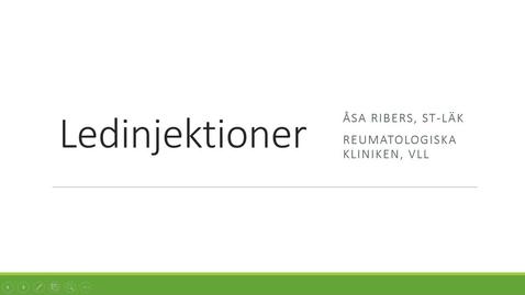Thumbnail for entry Ledinjektioner Åsa Ribers