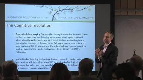 """Thumbnail for entry 111018 Levesque: """"I have a laptop but I don't teach with computers"""": Digital history and the need for technological pedagogical content knowledge (TPCK)"""
