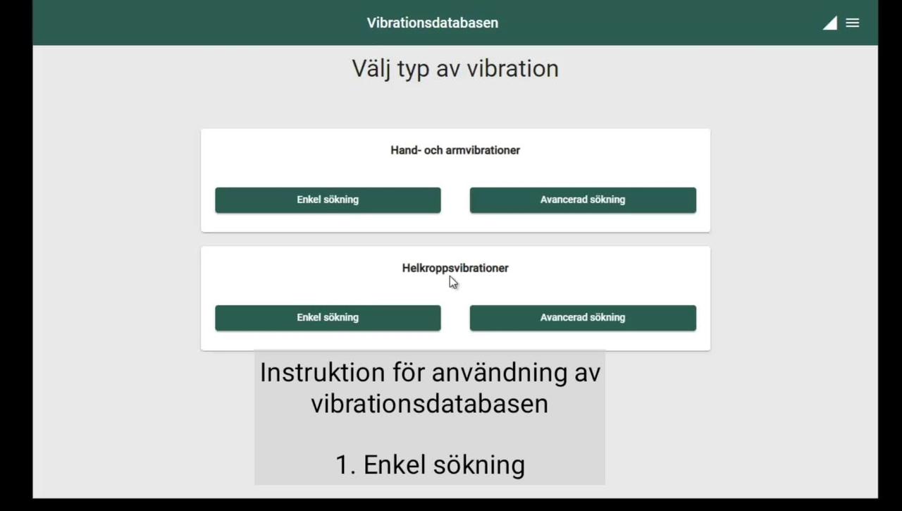 Instruktionsfilm för vibrationsdatabasen