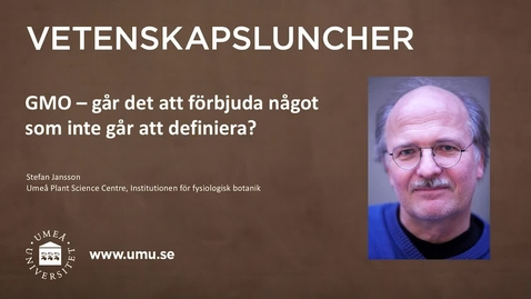 Thumbnail for entry Vetenskapslunch 23 februari 2017 Stefan Jansson