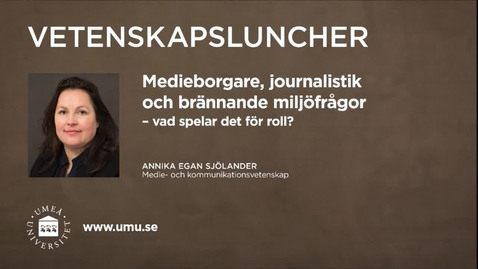 Miniatyr för inlägg Vetenskapsluncher Annika Egan Sjölander 18 februari 2016