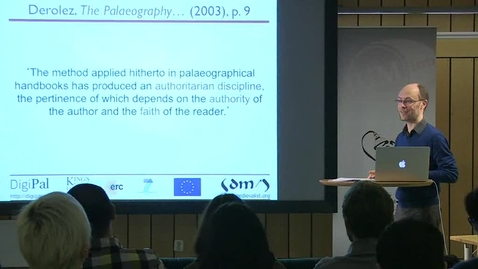 """Miniatyr för inlägg 131204 Stokes: """"Objectivity and Evidence in Digital Humanities: The Case of the Missing Palaeographer"""""""