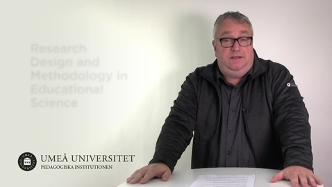 Thumbnail for entry Research Design and Methodology in Educational Science
