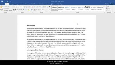 Thumbnail for entry Funktioner i Word - Innehållsförteckning