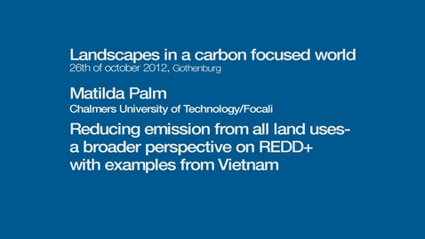 Tumnagel för Reducing emission from all land uses - a broader perspective on REDD+  with examples from Vietnam