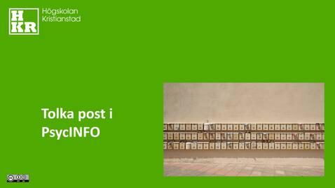 Miniatyr för inlägg Tolka post i PsycINFO
