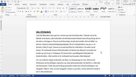 Miniatyr för inlägg Word 2013 - Spåra ändringar