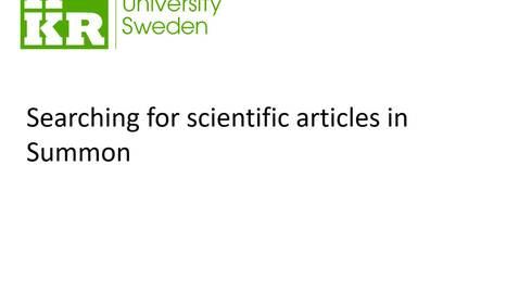 Miniatyr för inlägg Searching for scientific articles in Summon