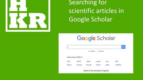 Miniatyr för inlägg Searching for scientific articles in Google Scholar