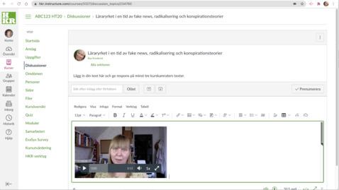 Miniatyr för inlägg Student i Canvas - Video i diskussioner