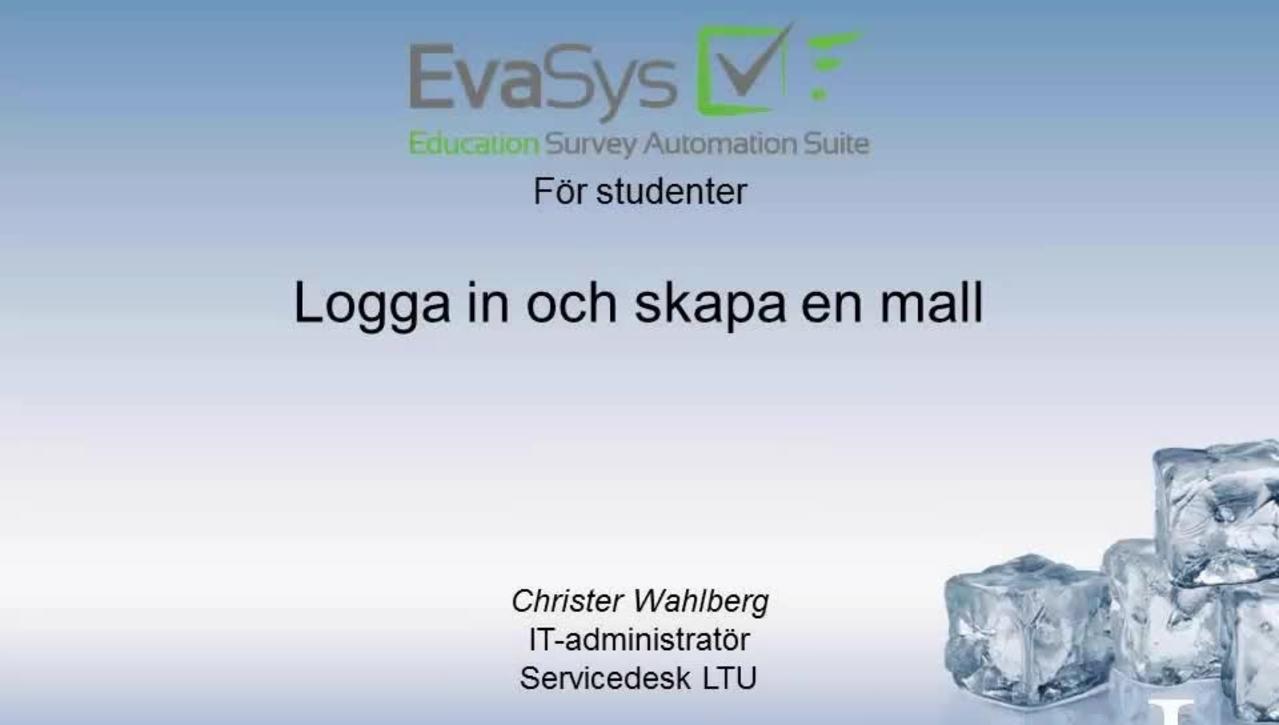 Evasys Del 1 Logga in skapa questionnaire
